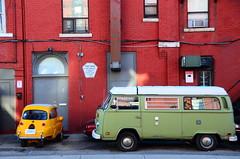 Double Parked ([dscphoto]) Tags: city morning windows red urban toronto car yellow wall sunrise volkswagen bricks retro bmw van 18200 isetta vwvan sooc d7000