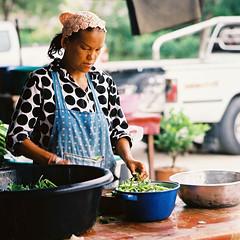 Rungrueang Village, Bangkok (jonasfj) Tags: street portrait woman 6x6 film cooking vegetables zeiss mediumformat t thailand asia bangkok candid c streetphotography cx hasselblad carl pro fujifilm 500 f28 503 foodstand 80mm candidportrait fujicolor c41 filmphotography 500series 400h colornegative fujicolorpro400h vseries hasselblad503cx rungrueangvillage carlzeiss2880ct