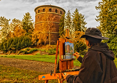 Painterly Painter (sunrisesoup) Tags: watertower painter volunteerpark colorefex