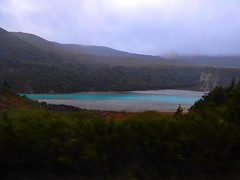 Topaz Blue Water (Steve Taylor (Photography)) Tags: blue trees newzealand orange cloud mist green forest spring canterbury nz mauve southisland southernalps gravel