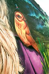 Levitating Hat (Georgie_grrl) Tags: streetart toronto ontario bird beauty hat birdie underpass graffiti mural magic creative floating tophat pentaxk1000 smoky bruno detailed levitating rikenon12828mm shalak springshootingshenanigans hangingoutwithkatandmichael