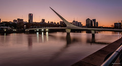 Pink (tm1126) Tags: city bridge sunset water argentina skyline buildings reflections boat dock buenosaires nikon puertomadero bsas d7100