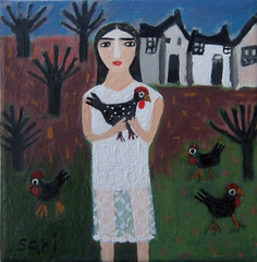 "#1349 ""Black Chickens"" (sariart2) Tags: original white house black tree art chicken painting landscape mixed media acrylic dress folk ooak sari figurative childlike azaria noy"