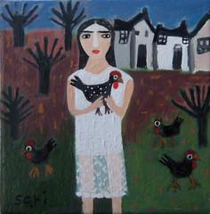 "#1349 ""Black Chickens"" (sariart2) Tags: original white house black tree art chicken painting landscape mixed media acrylic dress folk ooak sari figurative childlike azaria noy"