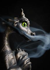 dragon smoke 01 jul 16 (Shaun the grime lover) Tags: sculpture animal ceramic dragon smoke smoking burner incense breathing