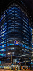 building american (pbo31) Tags: sanfrancisco california city july 2016 nikon d810 summer boury pbo31bayarea color black night dark financialdistrictsouth urban panoramic large stitched panorama construction missionstreet flag american salesforce steel shell frame blue