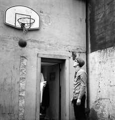 Another chapter from the Whiskey Basketball Diaries (Zeb Andrews) Tags: bw david 6x6 film basketball oregon analog square portland coworker afterwork kodaktrix pdx atwork backlot pentaconsixtl bluemooncamera whiskeybasketball