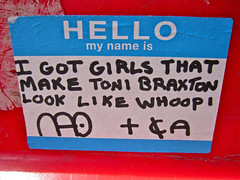 Toni Braxton, New York, NY (Robby Virus) Tags: hello city nyc girls newyork apple whoopi big sticker manhattan name toni slap nao braxton