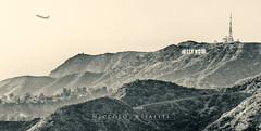Hollywood Heights (Nik 5) Tags: city travel sign architecture plane landscape la los angeles observatory hollywood duotone sight griffith