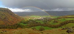 The Moment of Redemption (RoystonVasey) Tags: panorama lake storm hail rainbow 5 district double cumbria coniston iphone ldnp