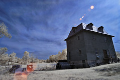 Big Otter Mill IR (jnthomasphotography) Tags: old blue red summer usa white snow mill barn ir bedford virginia american va infrared americana converted channels d90 swapped 1424mm