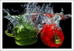 Splash (Fazer44) Tags: red green water canon vegtables peppers splash