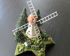 Miniature Dutch Fairy Windmill with Tulips (Bewilder and Pine Miniatures) Tags: handmade polymerclay handpainted handcrafted tinyhouse scalemodel modelrailroad miniaturehouse