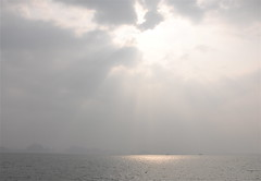 One Shining Moment (The Spirit of the World ( On and Off)) Tags: light sky sunlight storm nature clouds bay day unescoworldheritagesite vietnam southchinasea halongbay cloudyday raysofsunlight thegalaxy rememberthatmomentlevel1 rememberthatmomentlevel2