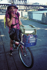 Pinky (beau patrick coulon) Tags: bridge pink color bicycle 35mm portland colorful basket steel character pointandshoot local wingnut