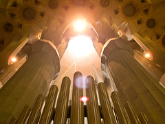 Star ship 2 (dannynavarrophoto) Tags: barcelona summer church contrast spain glow bright wideangle espana organ fantasy gaudi gleam spaceship column futuristic lowangle 2013