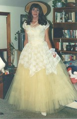 Another From Halloween, 1989 (Laurette Victoria) Tags: halloween hat wisconsin costume dress milwaukee belle laurette hoopskirt laurettevictoria
