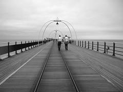 Walking...... (hulalulatallulahoop16) Tags: pier lancashire southport blaclandwhite