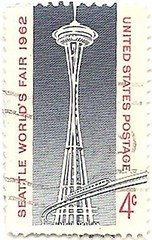 USA Stamp commemorating Seattle World's fair (sftrajan) Tags: seattle usa washington unitedstates stamp spaceneedle 1960s timbre postagestamp philately sello briefmarke  francobollo seattleworldsfair