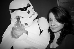 "Pff. ""Bond-Girl"". Imma be Stormtrooper-Girl! (Fox Searchlight) Tags: bw white black weird starwars cardboard stormtrooper lifesize"