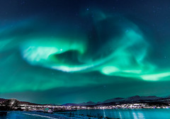 Aurora Borealis over Srreisa, Norway. (Explored at no 8) (Bhalalhaika) Tags: longexposure norway reflections flickr ab explore le northernlights auroraborealis srreisa canone
