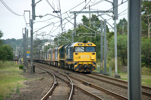 8178, X45, 8050, DL49 and DL45, on a late-running 5136, approach Rhodes. Main North, NSW, 26th January, 2014.