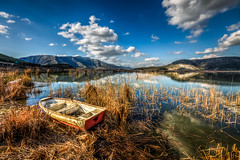 Belevi Lake, Izmir (Nejdet Duzen) Tags: trip travel lake reflection reed turkey boat trkiye sandal izmir seluk gl yansma turkei seyahat sazlk belevi