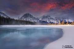 Winter impression (VictorLiu Photography) Tags: winter snow mountains reflection ice water clouds sunrise rockies jasper canadian