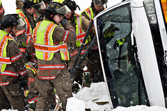 Van Rollover U.S. 131 Grand Rapids Feb. 16, 2014. (Andrew Kuhn) Tags: saved road rescue usa snow ice church car weather mi dangerous highway driving crash michigan group injury police first grand ambulance rapids passengers medical vehicles damage vehicle grandrapids firemen expressway roads van firefighter medic emt wreckage slippery firefighters rollover injured crews ln wellspring sved responders