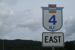 BC 4 in Port Alberni (cbmtax) Tags: canada sign clouds highway britishcolumbia vancouverisland roadsign portalberni