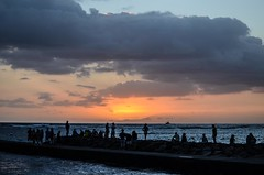 As the sun goes down. (Jason Fairbairn Photography) Tags: travel sunset sea people usa cloud beach water sunshine clouds hawaii evening pier nikon oahu dusk crowd even honolulu sunbeam sunray ocea globalnomad derussy nikonphotography fortderussybeach d5100 travelgram mytravelgram