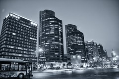LG Twin Towers (William Adam) Tags: china road signs blur bus cars buildings towers beijing lg lightstreak lgtwintowers
