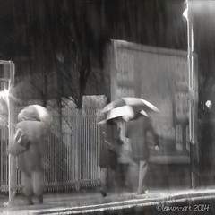 Wet commute (Lemon~art) Tags: wet rain station train umbrella commute commuter hometime vision:outdoor=0887