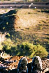 Chillin, ~1,500 ft up (!) Tags: mountain film landscape 50mm nikon rocks fuji bokeh climbing geography fe nikkor squawpeak fujisuperia400