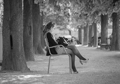 Study (KronaPhoto) Tags: park woman paris girl mobile book chair sitting read study jente stol lese studere