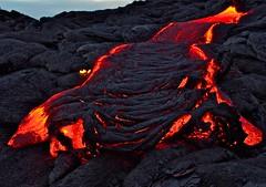 Lava glow (loveexploring) Tags: kalapana hawaii lava dusk bigisland ropey pahoehoelava flowinglava glowinglava effusiveeruption