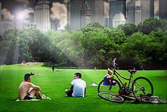 Summer in the City (floralgal) Tags: park nyc newyorkcity summer grass landscape centralpark manhattan bicycles cityskyline summerinthecity newyorkcityskyline summerhaze centralparknewyorkcity centralparksummer