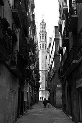The Bell Tower of (Memp0) Tags: barcelona travel blackandwhite bw canon spain alley europe espana alleyway 5dmk2