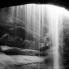 In Canyons 097 (noahbw) Tags: light shadow blackandwhite bw water monochrome rock stone forest square landscape blackwhite waterfall spring woods nikon natural canyon cliffs starvedrockstatepark d5000 lasallecanyon noahbw