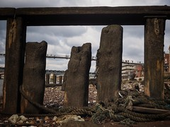 London Layers (Feldore) Tags: old bridge england london english thames pier wooden olympus rope millennium wharf posts mchugh decaying em1 mudlark 1240mm mudlarking feldore