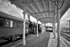 Zbszy Station Wielkopolska Province Poland 15th May 2016 (loose_grip_99) Tags: railroad station train awning blackwhite noiretblanc platform may engine poland rail railway trains steam experience locomotive railways pkp 2016 wolsztyn ol49 zbaszyn gassteam zbszy ol4959