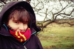Eve (thomas.drezet) Tags: trip red colour girl scarf vintage outdoors happy gold lomo lomography friend warm kodak walk district memories peak olympus 200 35 cosy | padley grindleford fulm