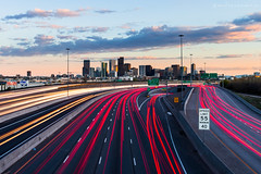 Off and On (andrewcmartin) Tags: city longexposure sunset usa cars clouds skyscraper canon colorado long exposure downtown cityscape skyscrapers denver lighttrails speedlimit carlights i25 denvercolorado cartrails