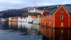Waterfront colour (halifaxlight) Tags: sea mountain snow norway misty architecture buildings reflections fjord colourful bergen sandviken bergenfjord