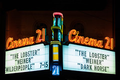 Cinema 21 Movies - NW 23rd (pillarsoflight) Tags: city pink blue windows red horse orange brown white signs cinema building beauty lines sign yellow night oregon writing 35mm dark movie portland prime evening aperture nikon theater neon letters 7 15 adobe wires lobster movies pdx date 18 tilt showing weiner pnw showings cursive capitals lightroom darkhorse repeated 715 crop apsc thelobster cinema21 d3300 sensor wilderpeople nrogjt