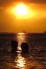 here comes the sun (DOLCEVITALUX) Tags: friends sunset sea water couple philippines canonpowershotsx50hs