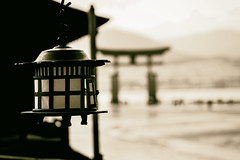 In Japan (Enricodot ) Tags: street bw lamp japan garden japanese gate streetlife miyajima monocrome seppia streetphotographer enricodot