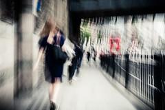 Going To Work (Sean Batten) Tags: street city bridge england people urban woman blur bus london 35mm nikon df unitedkingdom streetphotography motionblur gb blackfriars commuters