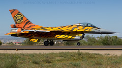 31 Tiger Squadron F-16. (spencer.wilmot) Tags: 65years skullandbones fighter f16 fightingfalcon tigermeet tiger specialcolours speciallivery specialmarkings aviation airplane aircraft airport airside taxiway ntm militaryaviation plane ramp lezg zaz zaragoza spain fa77 31tigers 31tigersquadron belgiumairforce arrival