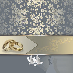 Wedding invitation card design. (thuvienanh89) Tags: flowers wedding holiday abstract bird floral silhouette illustration gold golden design pattern decorative dove decoration creative ornament invitation swirl ornamental decor weddingday greetingcard kazakhstan template striped newlyweds weddinginvitation whitedoves goldringweddingrings ourtext